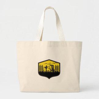 Tractor Harvesting Wheat Farm Crest Retro Large Tote Bag