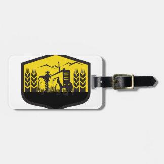 Tractor Harvesting Wheat Farm Crest Retro Luggage Tag