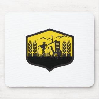 Tractor Harvesting Wheat Farm Crest Retro Mouse Pad