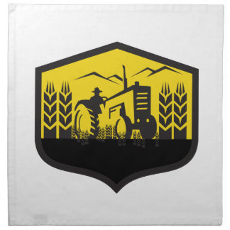 Tractor Harvesting Wheat Farm Crest Retro Napkin