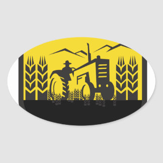 Tractor Harvesting Wheat Farm Crest Retro Oval Sticker