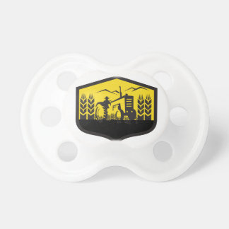 Tractor Harvesting Wheat Farm Crest Retro Pacifiers