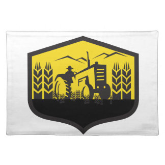 Tractor Harvesting Wheat Farm Crest Retro Placemat