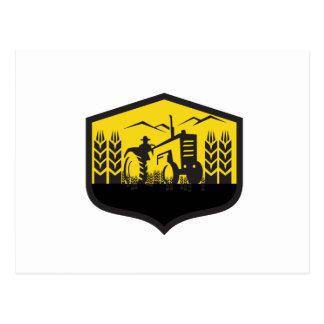 Tractor Harvesting Wheat Farm Crest Retro Postcard