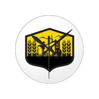 Tractor Harvesting Wheat Farm Crest Retro Round Clock