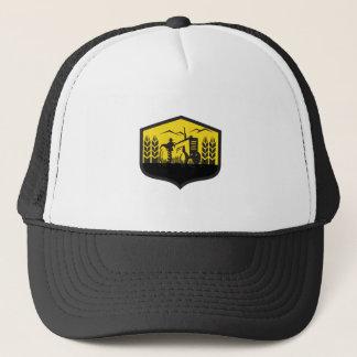 Tractor Harvesting Wheat Farm Crest Retro Trucker Hat
