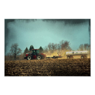 Tractor in Fields Poster
