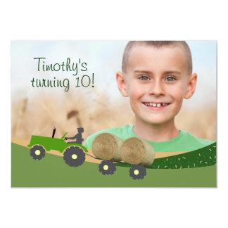 Tractor Invitation: Cute Hay Bale Farm Scene Card