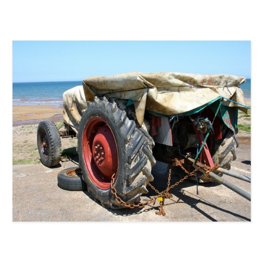 Tractor on the Beach Post Card