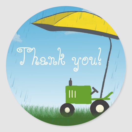 Tractor Party Favour Bag Sticker