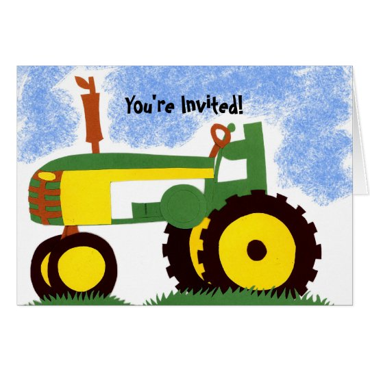 Tractor Party Invitation Card