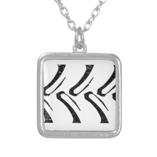 Tractor Tread Grunge Silver Plated Necklace