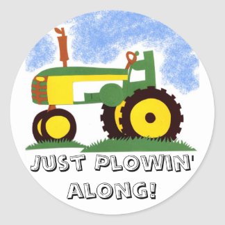 Tractor under Blue Sky Classic Round Sticker