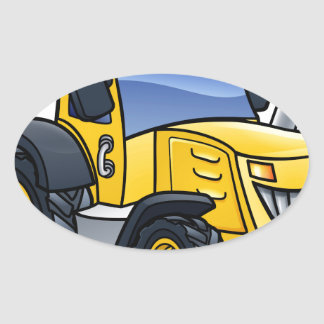 Tractor Vehicle Cartoon Oval Sticker