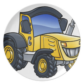 Tractor Vehicle Cartoon Plate