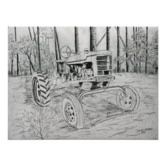 tractor vintage farm black and white art poster