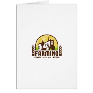 Tractor Wheat Organic Farming Crest Retro Card