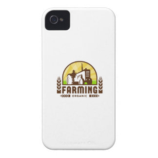 Tractor Wheat Organic Farming Crest Retro iPhone 4 Cases