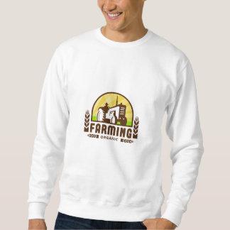Tractor Wheat Organic Farming Crest Retro Sweatshirt