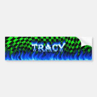 Tracy blue fire and flames bumper sticker design.