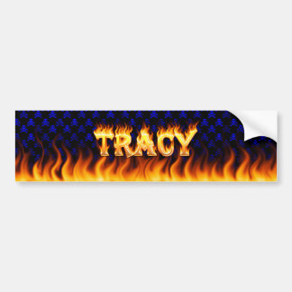 Tracy real fire and flames bumper sticker design.