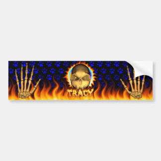 Tracy skull real fire and flames bumper sticker de