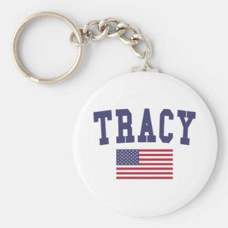 Tracy US Flag Basic Round Button Keychain