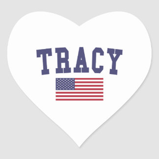 Tracy US Flag Heart Sticker
