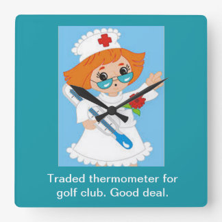 Traded Thermometer for Golf Club - Good Deal Square Wall Clock