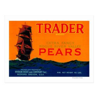 Trader Pear Crate LabelMedford, OR Postcard