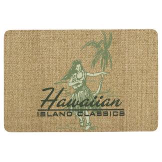 Tradewinds Hawaiian Island Hula Girl Green Floor Mat