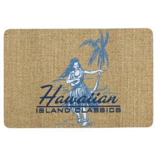Tradewinds Hawaiian Island Hula Girl Indigo Blue Floor Mat