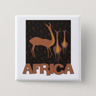 Traditional African brown artwork of antelope 2 Inch Square Button