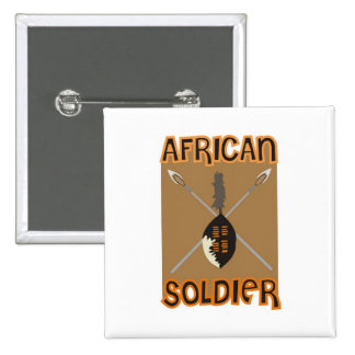 Traditional African Soldier Spear and Shield 2 Inch Square Button