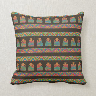 Traditional African Tribal Pottery Pattern Throw Pillow