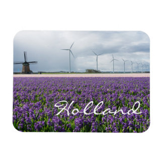 Traditional and modern windmill in Holland text Magnet