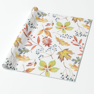 Traditional Autumn Leaves Wrapping Paper