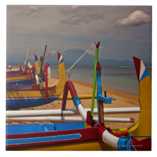 Traditional Balanese fishing boats on beach near Tile