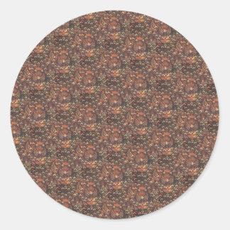 Traditional Batik Cuwiri Pattern Round Sticker