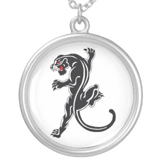 Traditional Black Panther Silver Plated Necklace