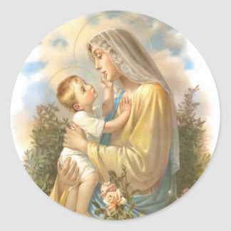 Traditional Blessed Mother Mary with Baby Jesus Classic Round Sticker