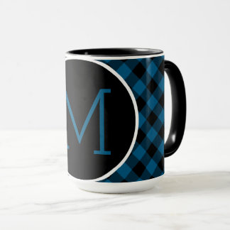 Traditional Blue Black Buffalo Check Plaid Pattern Mug