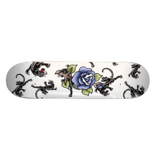traditional blue rose black panther pattern skate boards