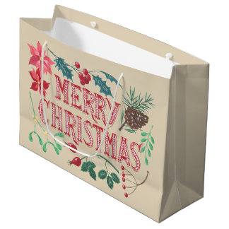 Traditional Botanical Christmas (beige) Large Gift Bag