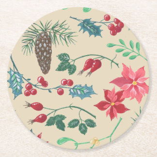 Traditional Botanical Christmas (beige) Round Paper Coaster