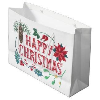 Traditional Botanical Christmas Large Gift Bag