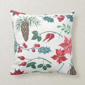 Traditional Botanical Christmas Throw Pillow
