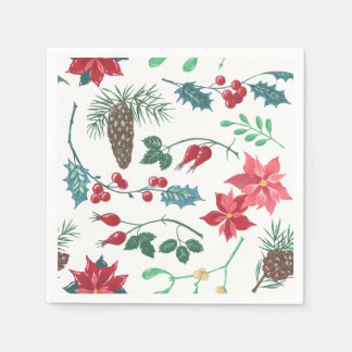 Traditional Botanical Christmas (white) Napkin