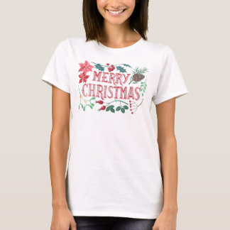 Traditional Botanical Christmas (white) T-Shirt