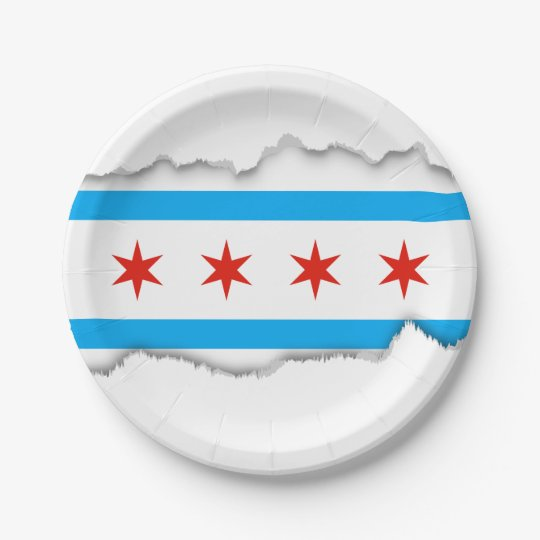 Traditional Chicago flag 7 Inch Paper Plate